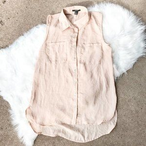 Forever 21 Tan Button Up Sleeveless Top!